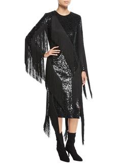 Michael Kors Collection Paillette Crewneck Fringed Dress