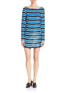 Michael Kors Collection Paillette Stripe Silk Tee Dress