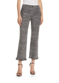 Michael Kors Collection Painterly Gingham-Check Ruffle-Trim Trousers
