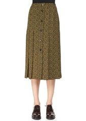 Michael Kors Collection Paisley-Print Button Skirt