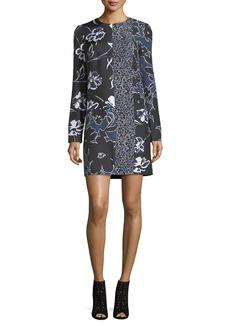 Michael Kors Collection Patchwork Long-Sleeve Shift Dress