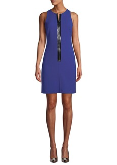 Michael Kors Collection Patent Zip-Front Sleeveless Scuba Shift Dress