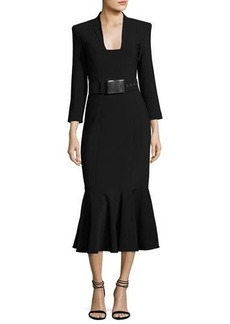 Michael Kors Collection Pebbled Crepe Belted Sheath Dress