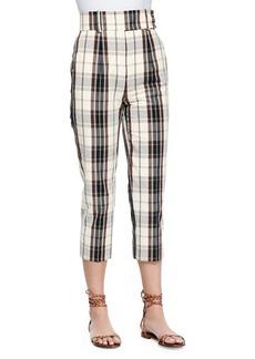 Michael Kors Plaid Mid-Calf Skinny Pants