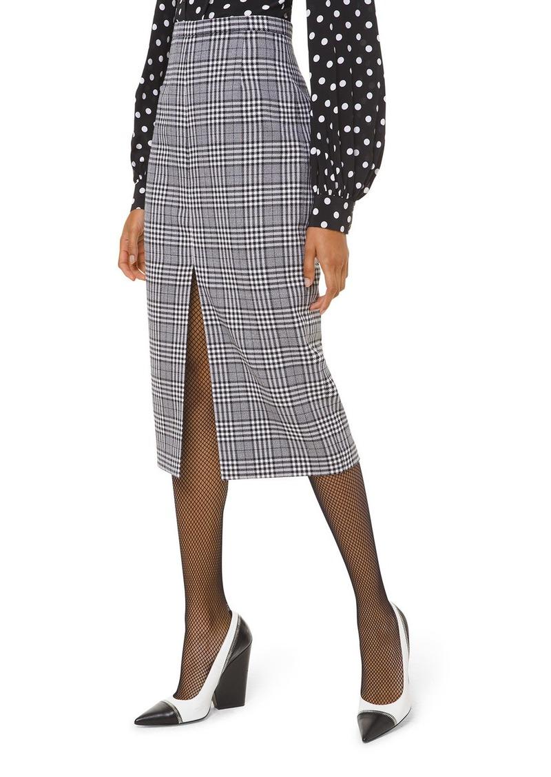 Michael Kors Collection Plaid Wool Slit-Hem Pencil Skirt