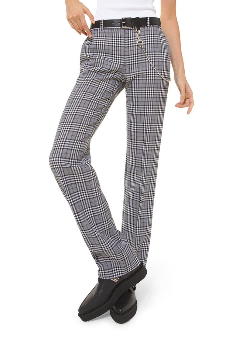 Michael Kors Collection Plaid Wool Straight-Leg Trousers