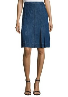 Michael Kors Collection Pleated Denim A-Line Skirt