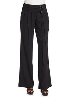 Michael Kors Pleated-Front Wrap-Belt Wool Pants