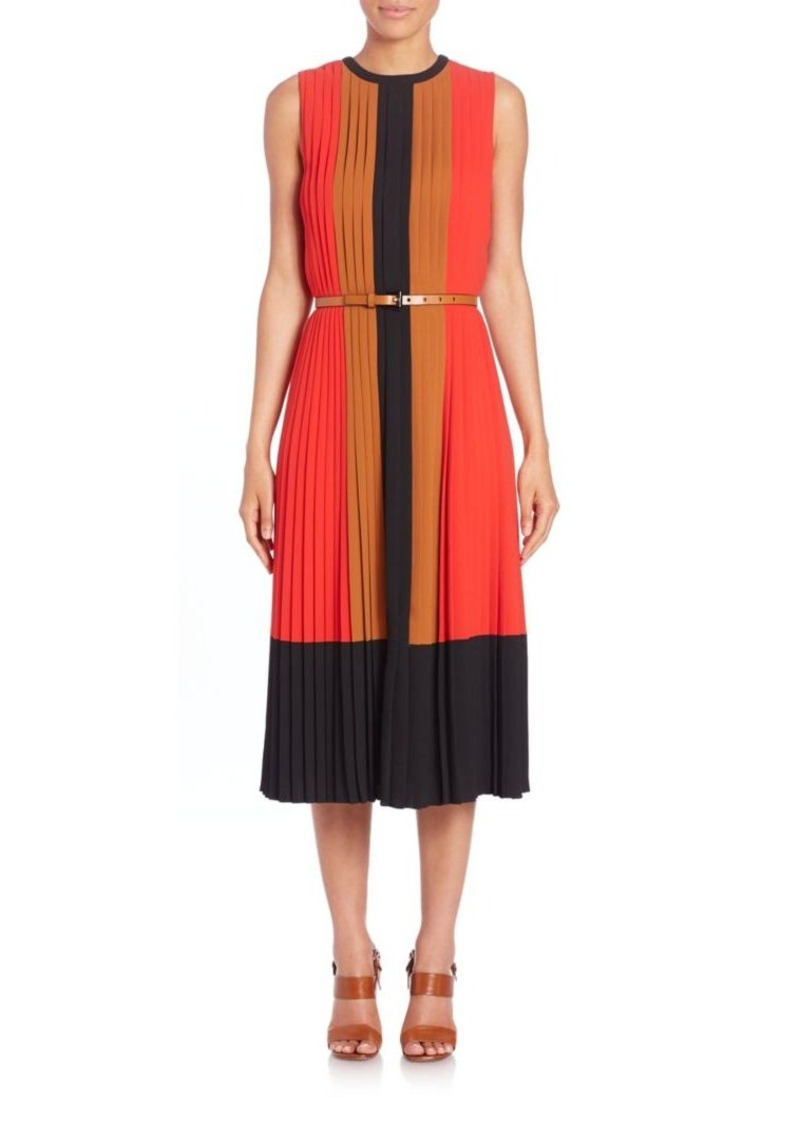 Michael Kors Collection Pleated Silk Colorblock Dress