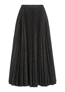 Michael Kors Collection Pleated Stretch Flannel Flared Skirt
