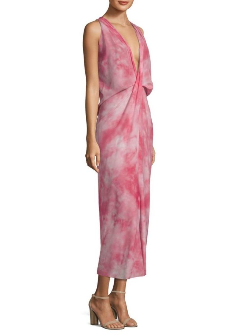 Michael Kors Plunge Twist Tye-Dye Dress