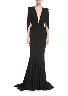 Michael Kors Collection Plunging Draped Fishtail Evening Gown