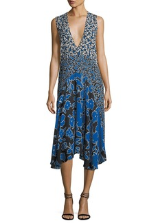 Michael Kors Collection Plunging Sleeveless Georgette Mixed-Print Midi Dress