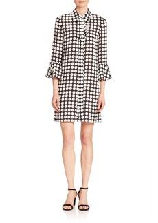 Michael Kors Collection Polka Dot Silk Bell-Sleeve Dress