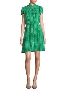 Michael Kors Collection Polka Dot Silk Flutter-Sleeve Shirtdress