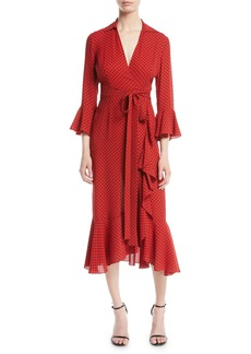 Michael Kors Collection Polka-Dot Silk Georgette Wrap Dress