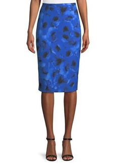 Michael Kors Collection Poppy-Print Pencil Skirt