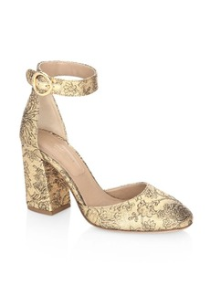 Michael Kors Collection Rena Shimmery Ankle Strap Pumps