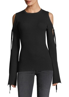 Michael Kors Collection Ribbed Knit Cold-Shoulder Tie-Sleeve Top