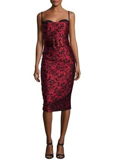 Michael Kors Collection Rose Jacquard Sleeveless Cocktail Dress