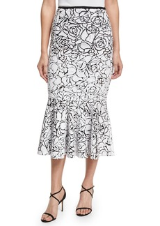 Michael Kors Collection Rose Paillettes Trumpet Skirt
