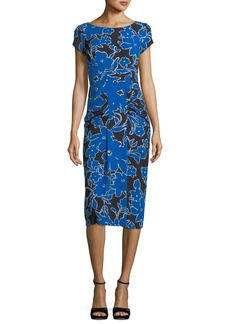 Michael Kors Collection Round-Neck Cap-Sleeve Tropical Floral-Print Fitted Dress