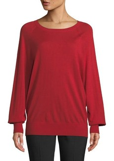 82ab54b40b0 Michael Kors Collection Round-Neck Long-Sleeve Merino Cashmere Pullover