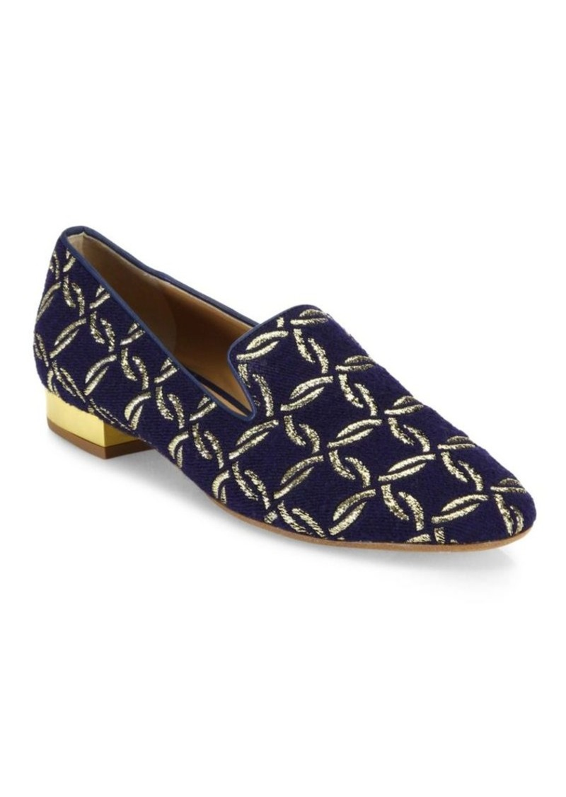 Michael Kors Collection Roxanne Metallic Embroidered Loafers