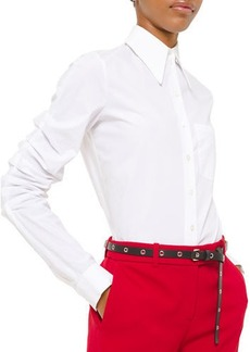 Michael Kors Collection Ruched Poplin Button-Front Shirt