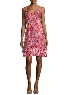 Michael Kors Collection Ruffled Floral-Print Silk Slip Dress