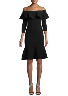 Michael Kors Collection Rumba Off-the-Shoulder Ruffle Body-Con Knee-Length Dress