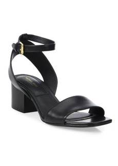 Michael Kors Collection Sam Leather Ankle-Strap Sandals