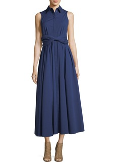 Michael Kors Collection Sash-Waist Button-Front A-Line Stretch-Poplin Long Dress
