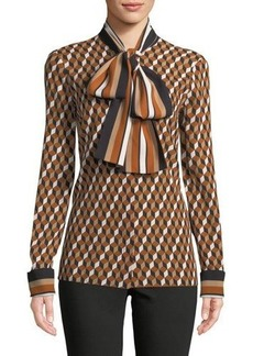 Michael Kors Collection Scarf-Neck Button-Front Deco Hex Silk Blouse