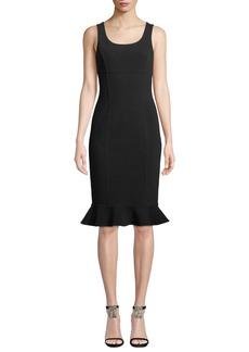 Michael Kors Collection Scoop-Neck Sleeveless Body-con Boucle-Knit Dress w/ Ruffle Hem