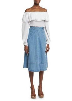 Michael Kors Seamed Denim Flare Skirt