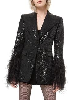 Michael Kors Collection Sequin Tuxedo Blazer w/ Feather Cuffs