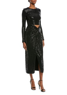 Michael Kors Collection Sequined Cutout Long-Sleeve Cocktail Dress