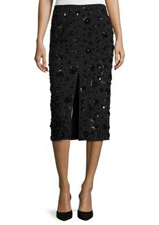 Michael Kors Sequined-Floral Front-Slit Pencil Skirt