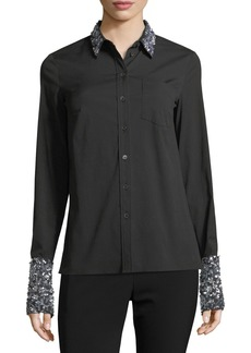 Michael Kors Sequined French-Cuff Shirt
