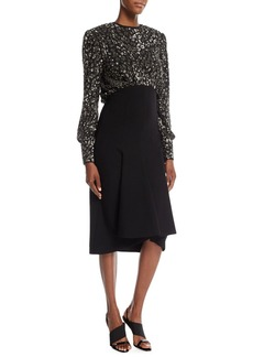 Michael Kors Collection Sequined Leopard-Bodice Pebble Crepe Dress