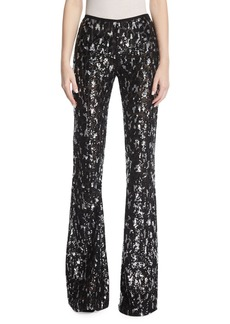 Michael Kors Collection Sequined Leopard Tulle Flare-Leg Pants