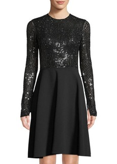 Michael Kors Collection Sequined Long-Sleeve Fit & Flare Dress