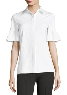 Michael Kors Short Bell-Sleeve Button-Front Stretch Poplin Shirt