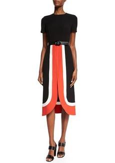 Michael Kors Short-Sleeve Colorblock Midi Dress