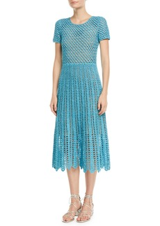 Michael Kors Collection Short-Sleeve Crewneck Crochet A-Line Midi Dress