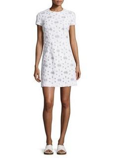 Michael Kors Collection Short-Sleeve Floral-Applique Dress