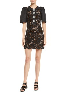 Michael Kors Collection Short-Sleeve Floral-Lace Body-Con Mini Cocktail Dress w/ Crystalized Buttons