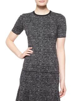 Michael Kors Short-Sleeve Jewel-Neck Tweed Top