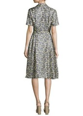 Michael Kors Short-Sleeve Paisley-Print Shirtdress